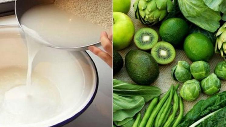 nước vo gạo có thể để ngâm rửa rau củ quả